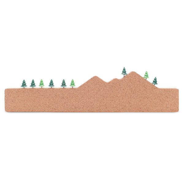 Memo Mountain Cork Board with 9 Push Pin Trees