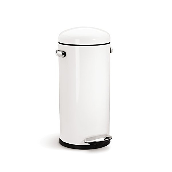 simplehuman Round Retro Step Trash Can, White Steel, 30-Liter / 8-Gallon