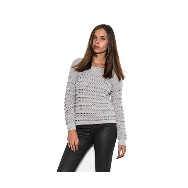 One Grey Day Whip Braided Cable with Thick Knit Stripes Women Classic Sweater-S