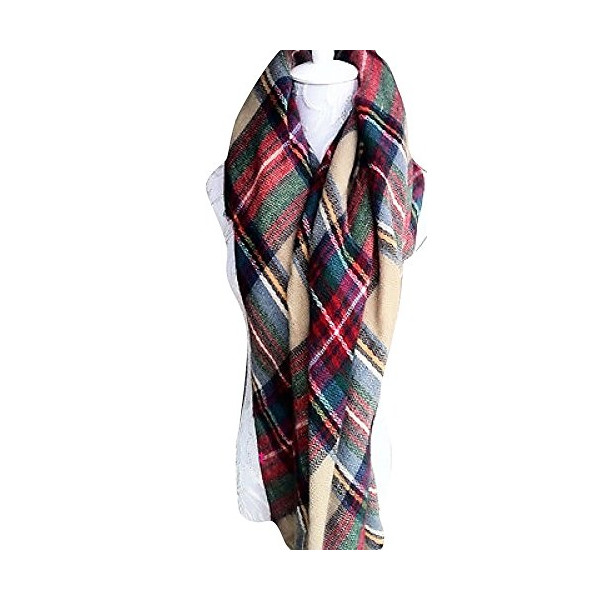 CHIC*MALL Oversized Blanket Colorful Tartan Wrap Shawl Plaid Scarf