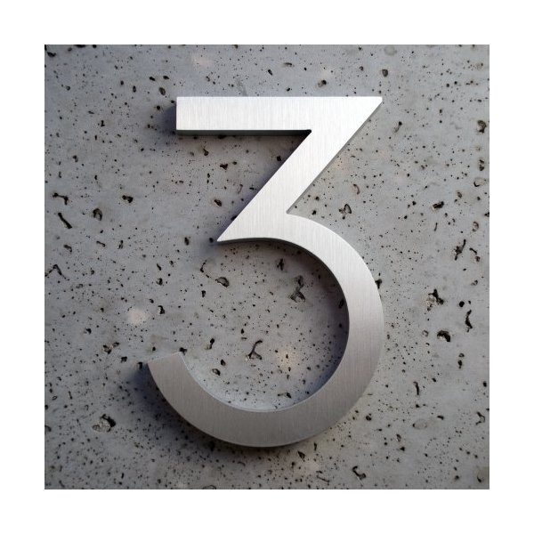 Modern House Number Aluminum Modern Font Number Three 3 - 8 inch