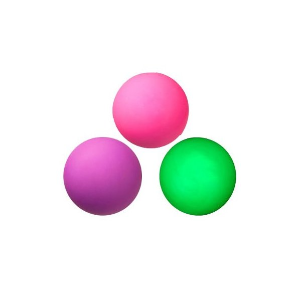 Three Assorted Neon Color Lacrosse Balls - Pink, Purple and Green