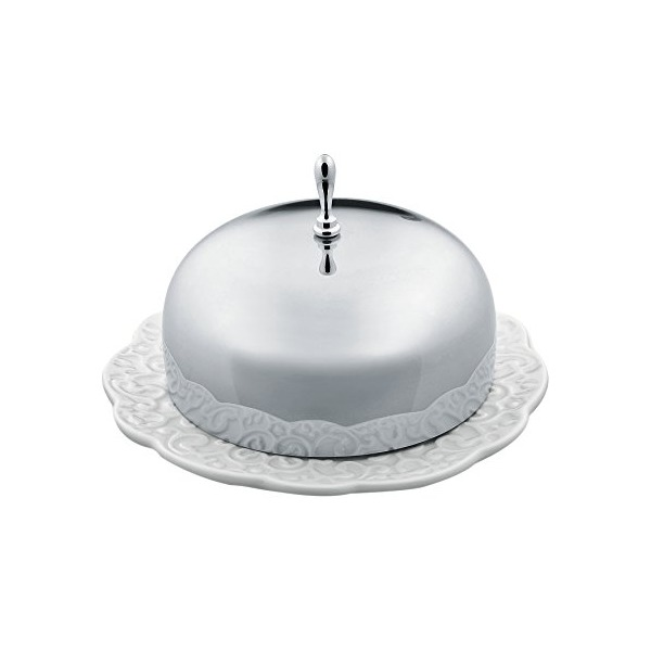 "Alessi ""Dressed"" Butter Dish in Porcelain With Lid in 18/10 Stainless Steel Mirror Polished, White"