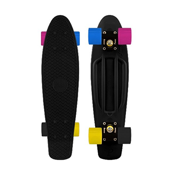 Penny Complete 22-inch Skateboard Custom Colorway, All Black with Multi-Colored Wheels