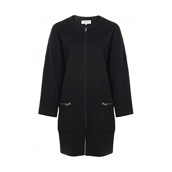 Helene Berman Women's Collarless Zip Coat UK 14 Black