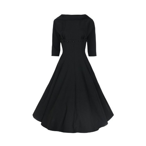 Lindy Bop 'Marla' Jackie O Style Vintage 1950's 1960's 3/4 Sleeve Dress (S, Black)