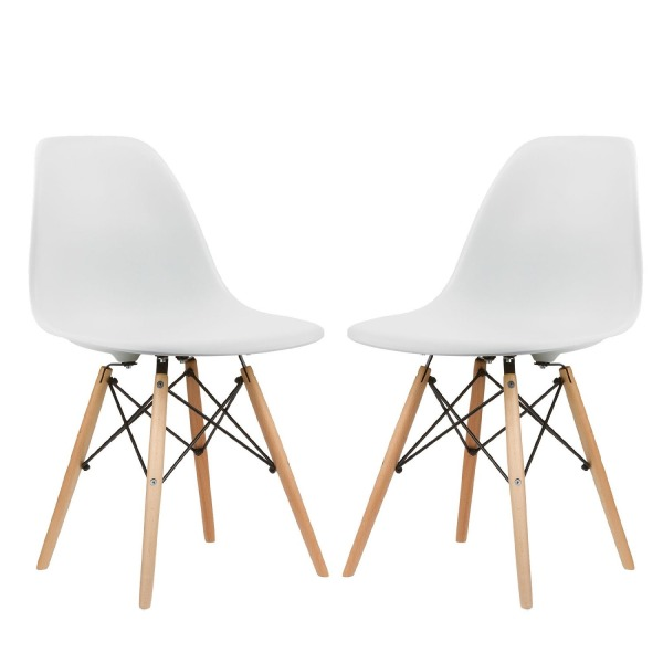 Poly and Bark Eames Style Molded Plastic Dowel-Leg Side Chair (DSW) Natural Legs (Set of 2)