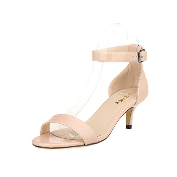 ZriEy Women Sexy Open Toe Ankle Straps Low Heel Sandals Nude , 9 M US / 40 M EU