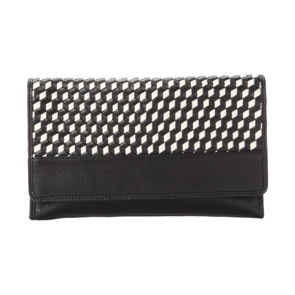 Cole Haan Parker Weave Envelope B43076 Clutch,Black/Pavement,One Size
