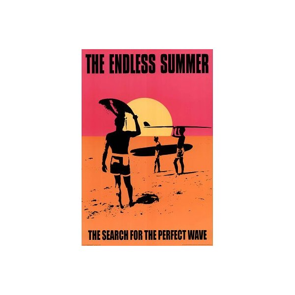 (24x36) The Endless Summer Movie Holding Surfboard, Orange Poster Print