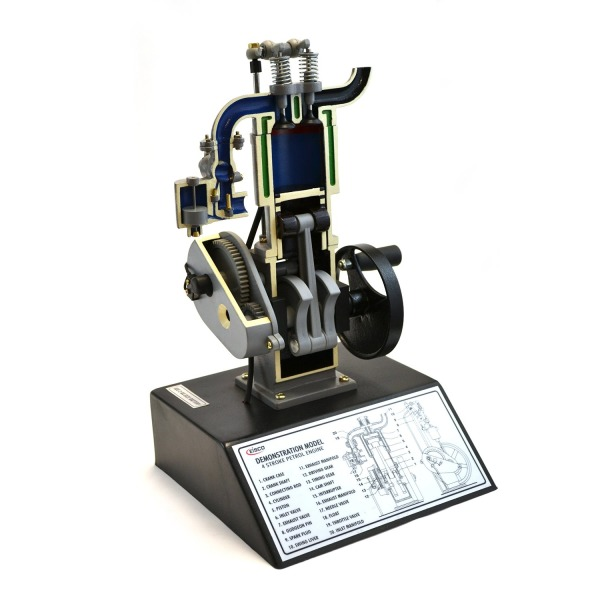"""Eisco Labs 4 Stroke Gasoline Hand Crank Engine Model with Actuating Movable Parts to Demonstrate Engine Basics - 13.75"""" Tall"""