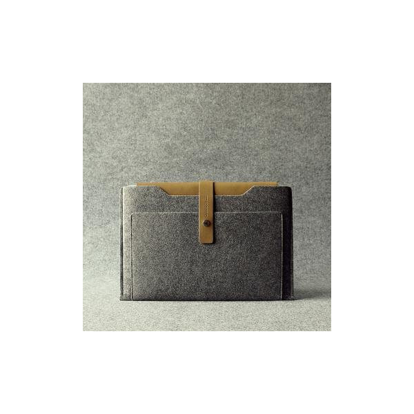 Charbonize Genuine Leather and Wool Felt sleeve case for Apple MacBook Air 13-inch (Grey)