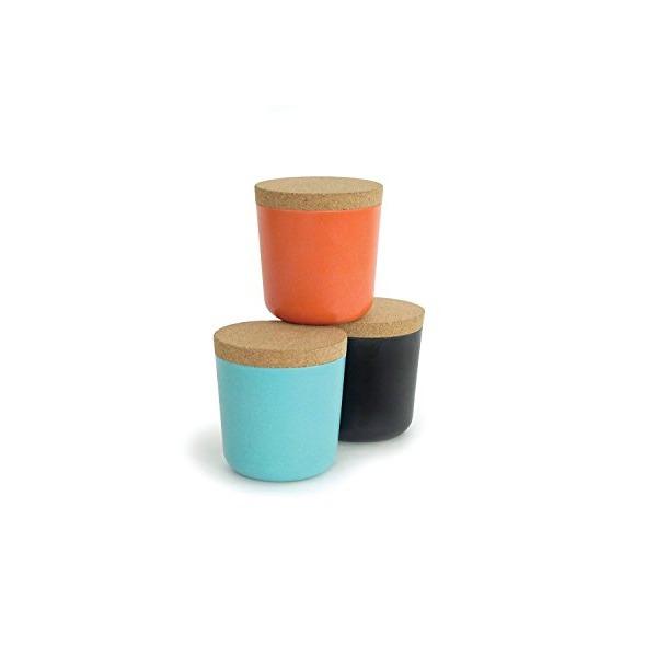 Biobu [by Ekobo] 15 oz Gusto Storage Jar Set in Gift Box, Large, Persimmon/Black/Lagoon