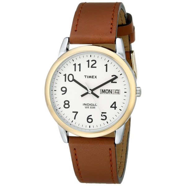 "Timex Men's T20011 ""Easy Reader"" Brown Leather Strap Watch"