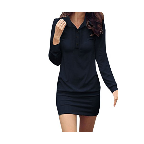 Allegra K Ladies Point Collar Button Upper Long Sleeve Sheathy Shirt Dress