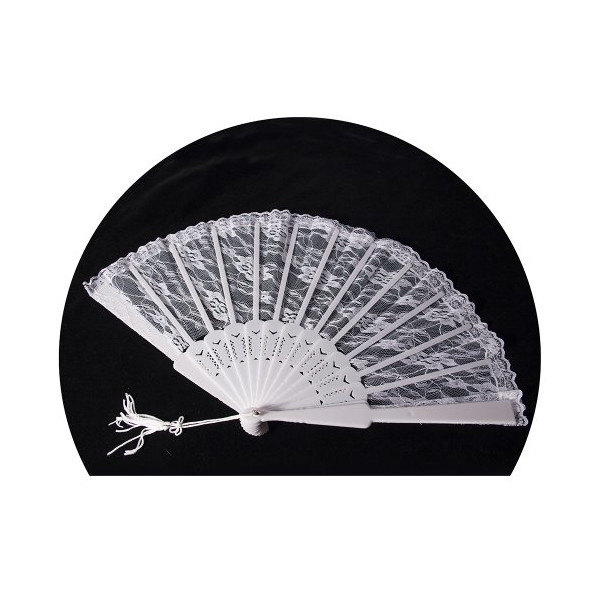 HMS Lace Fan 16 Inch, White, One Size
