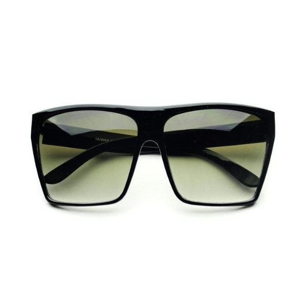 Large Retro Style Square Aviator Flat Top Sunglasses Shades (Black)