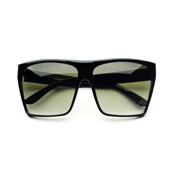 Large Retro Style Square Aviator Flat Top Sunglasses Shades (Black)