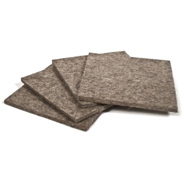 Square Felt Coasters, Gray, 4 Pack