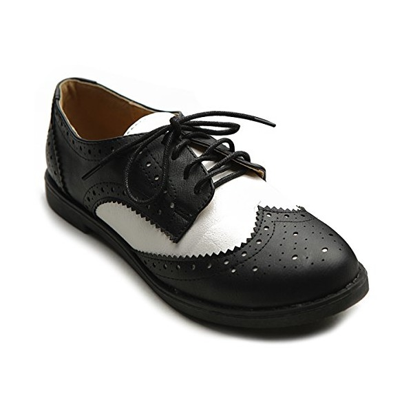 Ollio Women's Flat Shoe Wingtip Lace Up Two Tone Oxford(5.5 B(M) US, Black)