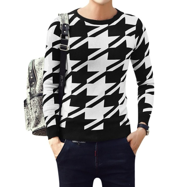 Men Houndstooth Pattern Casual Jumpers Knit Shirt White Black S