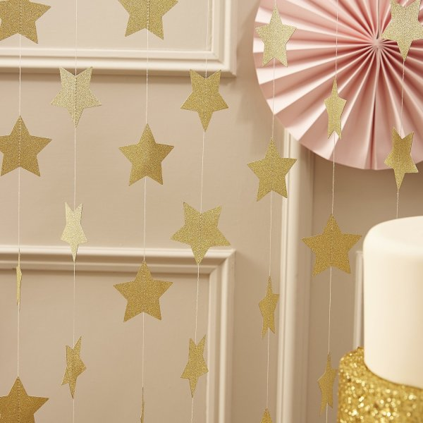 Ginger Ray Pastel Perfection Sparkling Star Garland Bunting for Weddings or Parties, Gold