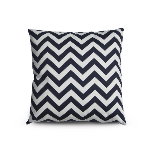 Cotton Canvas Chevron Striped Throw Pillow Cover, Navy Blue