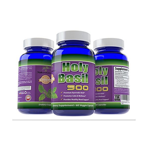 Holy Basil Supplement Capsules -Nature Green Tulsi Extract 500 Mg (60Cts)