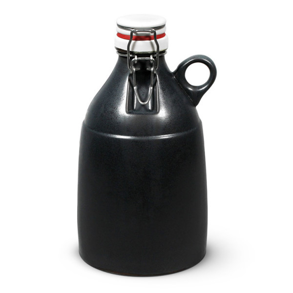 Ceramic Swing Top Growler with Wide Loop Handle, Matte Black
