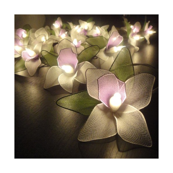 Thai Vintage Handmade 20 White Orchid Flower Fairy String Lights Wedding Party Floral Home Decor 3.5m