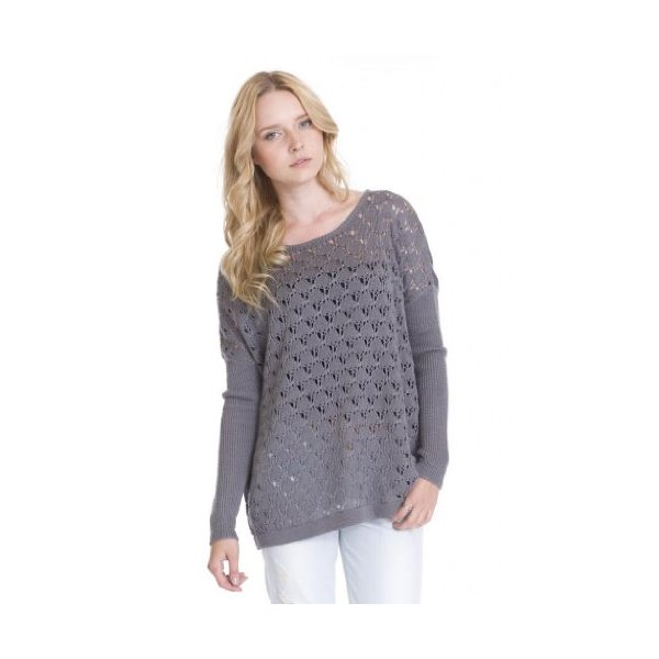Alicia Boxy Loose Open Knit Long Sleeve Pullover Sweater Texture One Grey Day-L