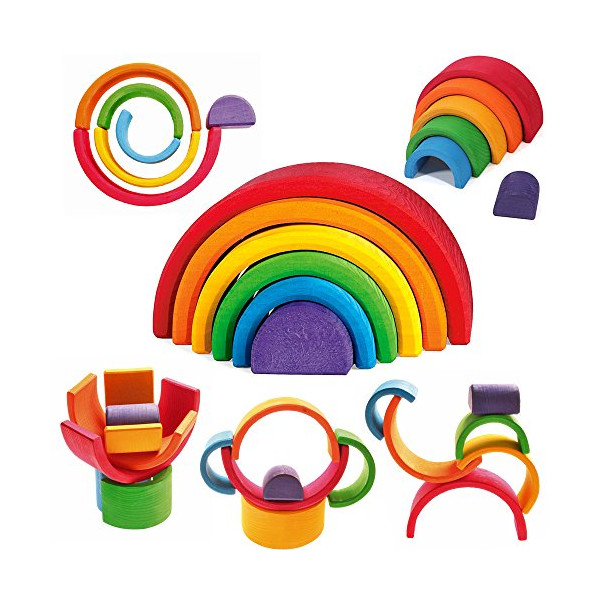 "Grimm's Large 6-Piece Rainbow Stacker - Nesting Wooden Waldorf Blocks, ""Elements"" of Nature: AIR"