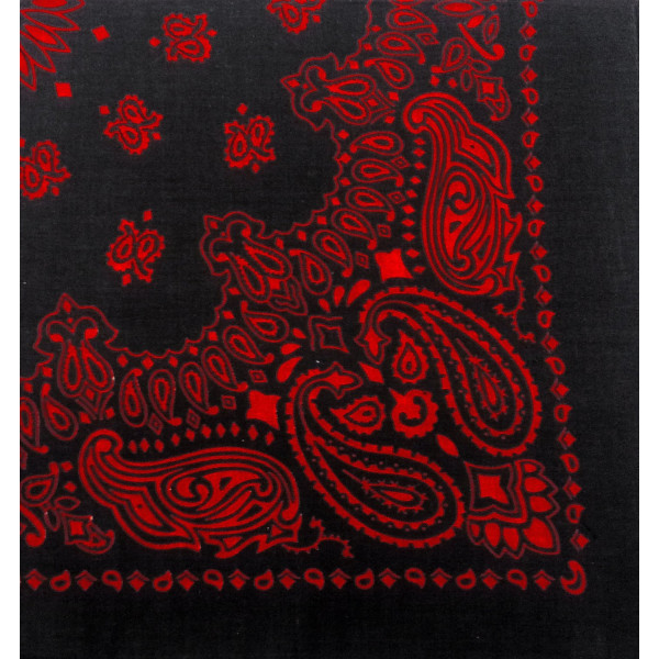 "Military Army Trainmen Paisley Bandanas (Black & Red - 22"")"