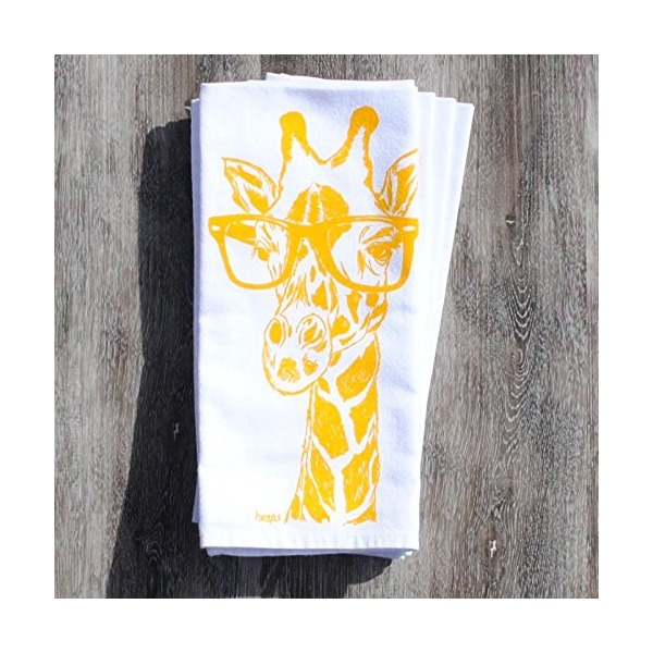 Yellow Giraffe Cotton Dinner Napkins Set of 4