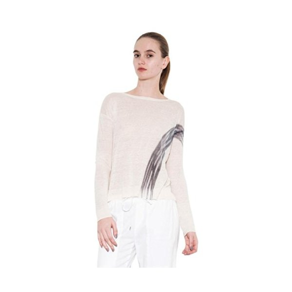 Adelaide Split Back Pullover Linen by One Grey Day for Women-White-M