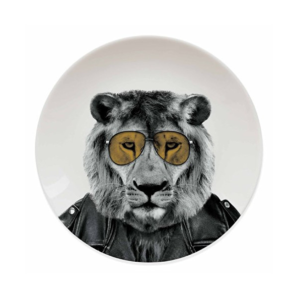 Mustard M12006B Wild Dining Ceramic Dinner Plate, Lion, Multicolored