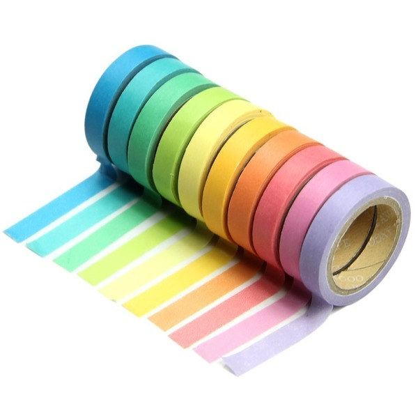Marrywindix 10x Decorative Washi Rainbow Sticky Paper Masking Adhesive Tape Scrapbooking DIY