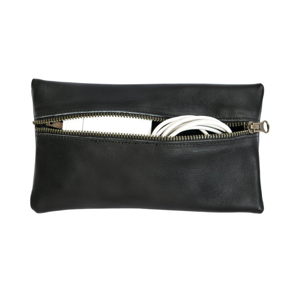 Leather All Purpose Utility & Charger Case for MacBook, iPad & Laptop Handmade by Hide & Drink :: Black