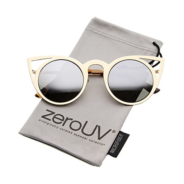 zeroUV - Womens Fashion Round Metal Cut-Out Flash Mirror Lens Cat Eye Sunglasses (Gold / Mirror)