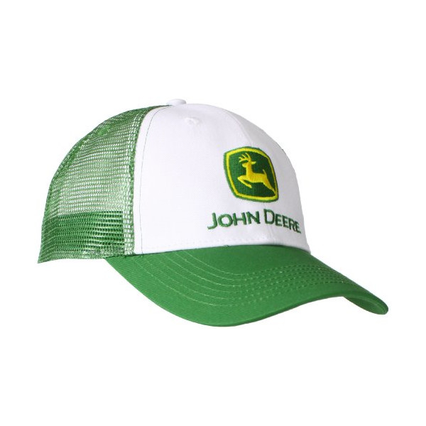 John Deere Men's Trademark Logo Trucker Mesh Back Core Baseball Cap, White, One Size