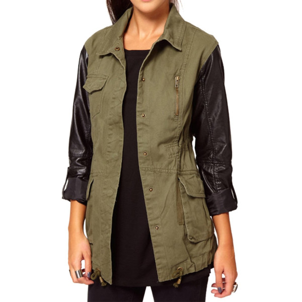 Vobaga Women's Military Green Contrast Stud Collar Blazer