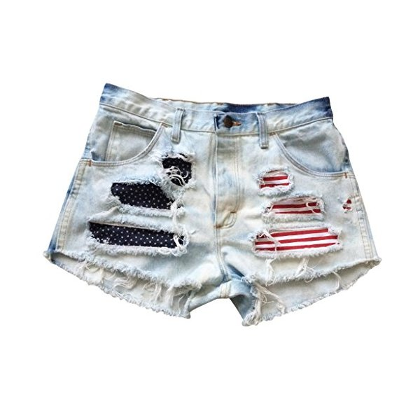 Vintage Shredded American Flag Levi Ripped Frayed High Waisted Shorts-L