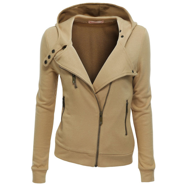 Doublju Womens Zip-up Hood Jacket BEIGE (US-XS)