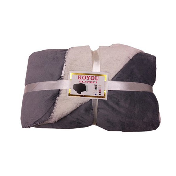 KOYOU Super Soft Dark Gray Plush Sherpa Borrego Blanket Throw Queen or Full Size Bed