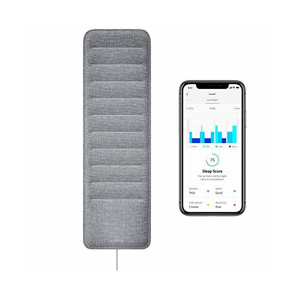 Withings Sleep - Sleep Tracking Pad Under The Mattress with Sleep Cycle Analysis, Sleep Score & Sleep Sensor to Control Light, Music & Room Temperature, Breathing Disturbances - Compatible with Alexa