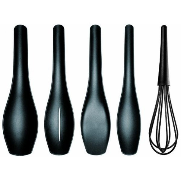 Eva Solo Spoons, Whisk and Spatula Set with Stand, Set of 5