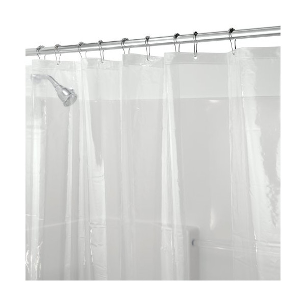 InterDesign Mildew-Free PEVA 3 Gauge Shower Liner, 72 x 72, Clear