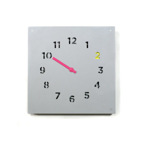 Block Wall Clock, Grey