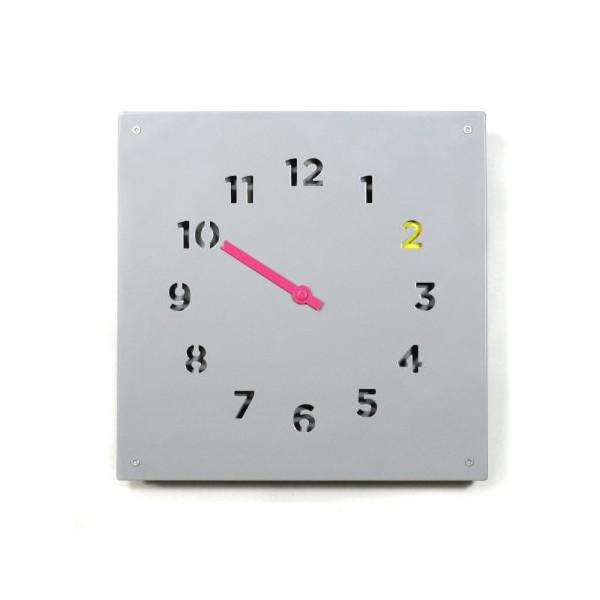 Block Wall Clock, Grey
