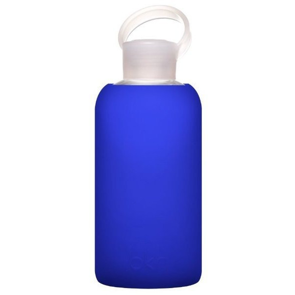 BKR Bottle, Glass Water Bottle with Soft Silicone Sleeve, Royal Blue